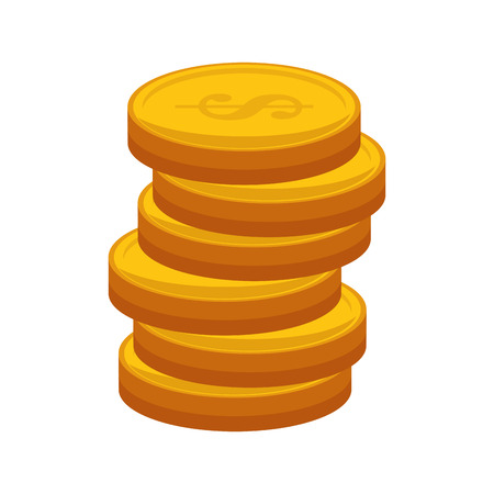 stack of coins: gold stack coins money cash economy financial item vector illustration