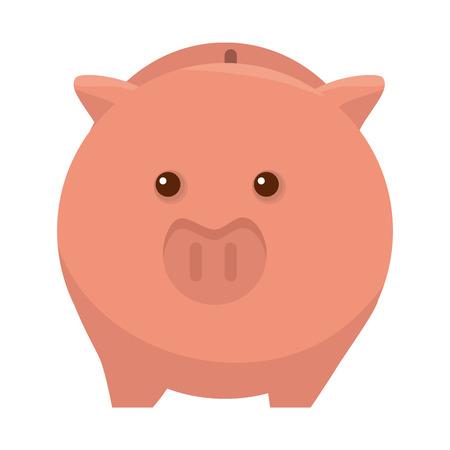 piggy pig moneybox cartoon financial economy vector illustration Illustration