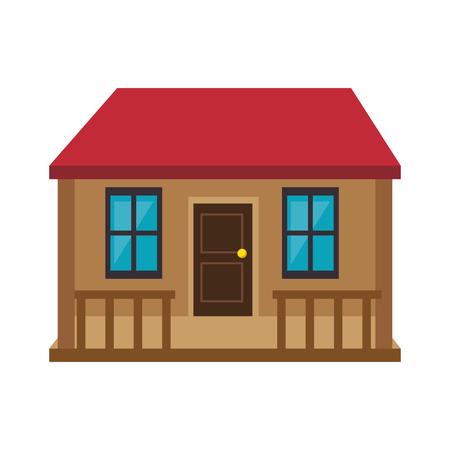 residence: house building home property residence red roof vector illustration