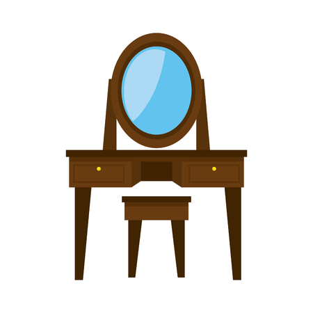 dressing table: dressing table wooden mirror bedroom decoration furniture object vector illustration Illustration
