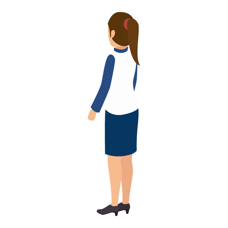 woman standing back: avatar woman back standing female person wearing casual clothes cartoon vector illustration Illustration