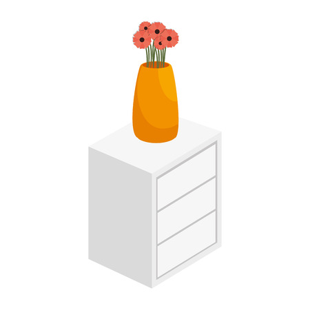 highboy: chest of drawers with vase of flowers home furniture decoration vector illustration