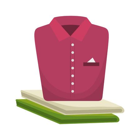 folded clothes: pink shirt folded elegant clothes laundry clothing vector illustration