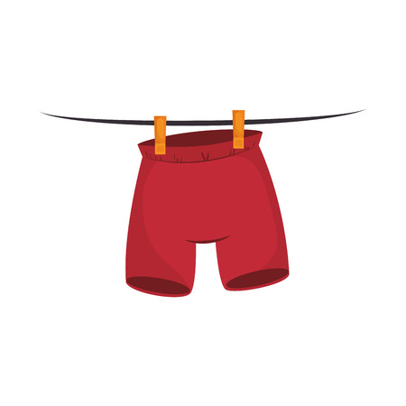 housework: clothes laundry pants hanging wash laundry housework vector illustration
