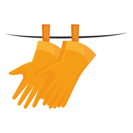 housework: wash hand gloves laundry cleaner domestic housework activity vector illustration