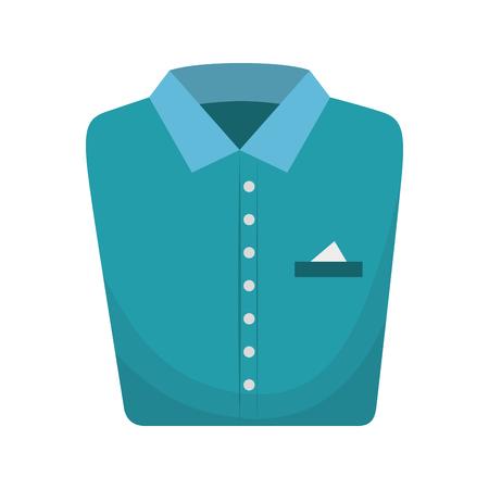 folded clothes: blue shirt folded elegant clothes laundry clothing vector illustration Illustration