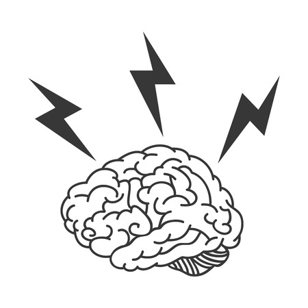 human brain bolt energy power organ mind head intelligence idea vector illustration Ilustração