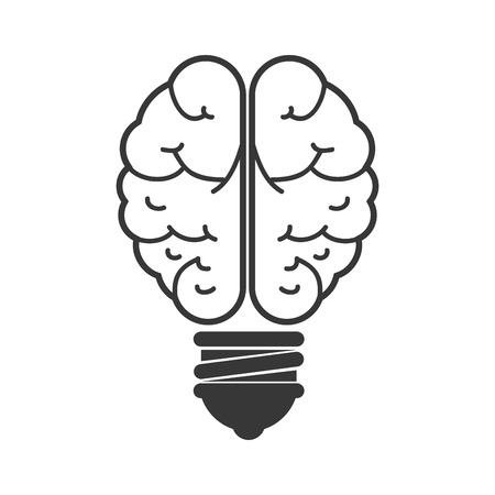 power of the mind: human brain idea bulb organ power mind head intelligence vector illustration Illustration
