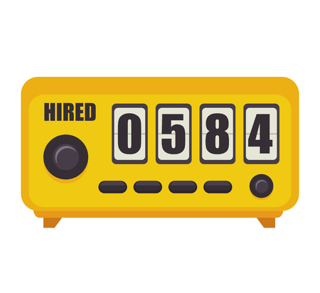 counter service: taxi meter counter numbers equipment public service vector illustration Illustration