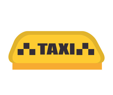 yellow cab: taxi word sign object yellow cab public service vector illustration Illustration