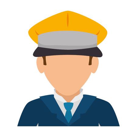 man hat suit tie chauffer driver service male guy cartoon vector illustration