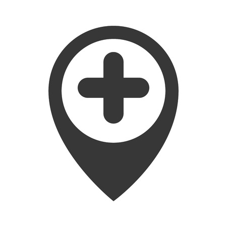 restaurant questions: map pin hospital sign direction marker plus vector illustration