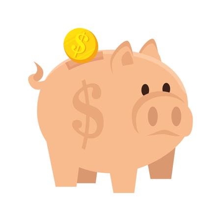 Guarro de la moneda hucha de ahorrar dinero economía ilustración vectorial de dibujos animados Foto de archivo - 62040470