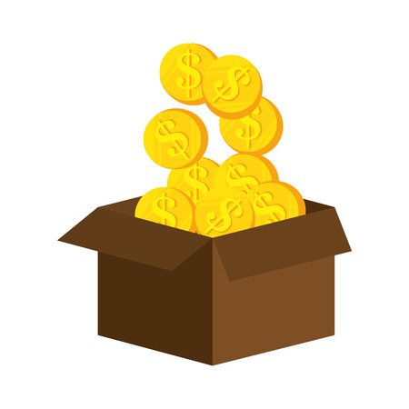 market value: box with money gold coin cash financial economy iteam vector illustration