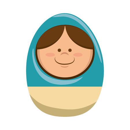 toll: russian doll matryoshka traditional toy girl smiling cartoon vector illustration Illustration
