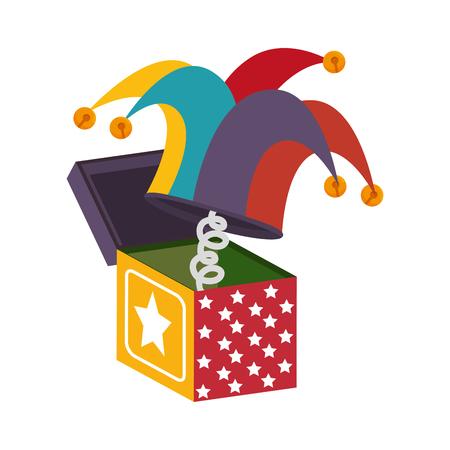 doos hoed speelgoed sprong verrassing sterren kleurrijke cartoon vector illustratie