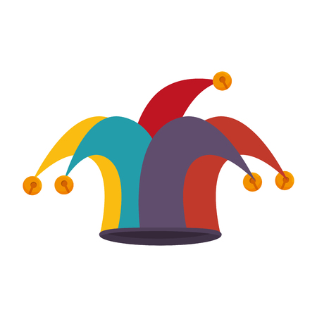 harlequin: clown jester hat harlequin costume coloful accessory vector illustration