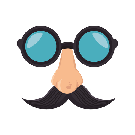 disguise mask: funny disguise mask glasses nose mustache party cartoon element vector illustration