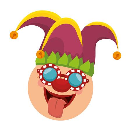 joker face: joker clown funny face mask sticking tongue carnival costume cartoon vector illustration Illustration