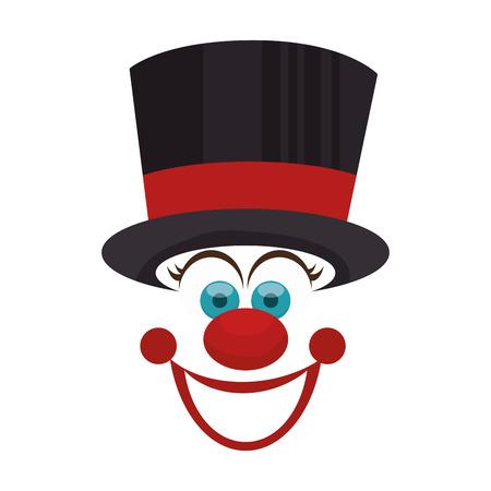 funny smiling face clown top hat cartoon vector illustration Illustration