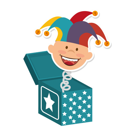 jack in the box: box boy smiling hat toy surprise jump stars cartoon vector illustration