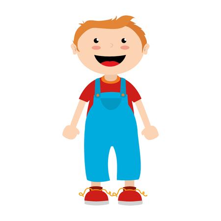 overweight kid: boy cartoon happy isolated design vector illustration Illustration