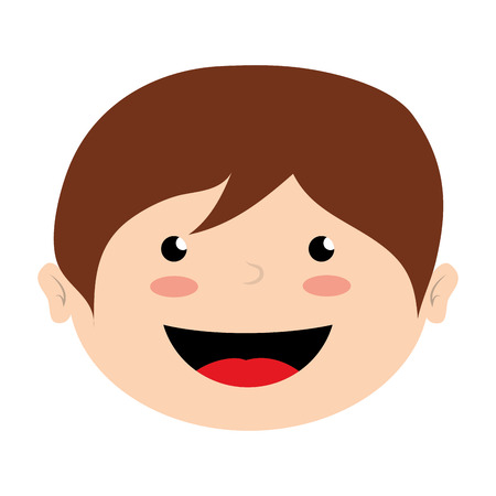 teenagers laughing: face boy smile isolated icon design, vector illustration