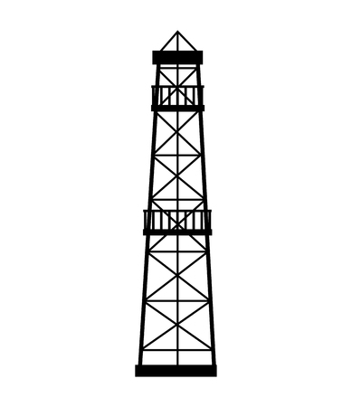 power grid: manufacture production oil platform isolated  vector illustration Illustration