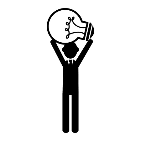 person standing: silhouette person standing idea bulb