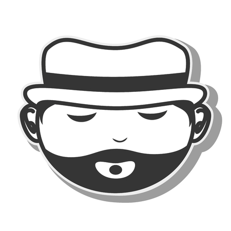face man hat beard closed eyes