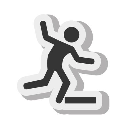 slippery floor: silhouette of people falling
