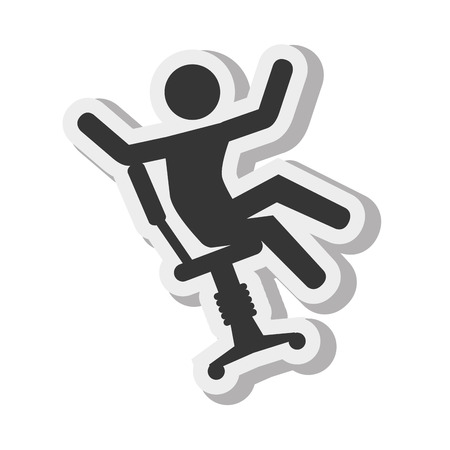 stubbly: silhouette falling from chair