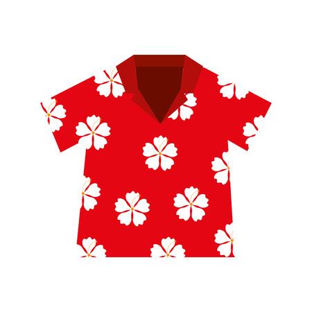 シャツ ハワイアン花赤ベクトル イラスト eps 10