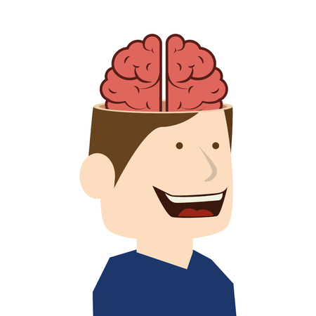 big head: brain idea man Illustration