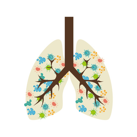 exhale: lungs with bacteria Illustration
