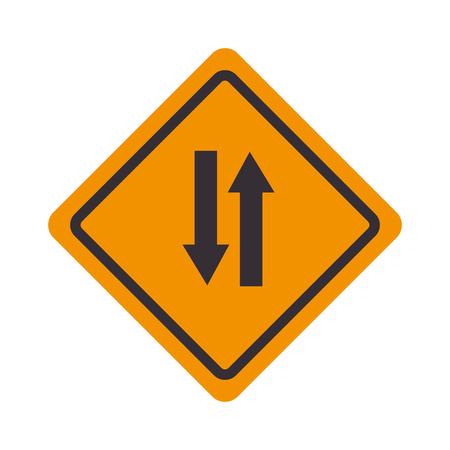 yellow beware: signal traffic pair arrows Illustration