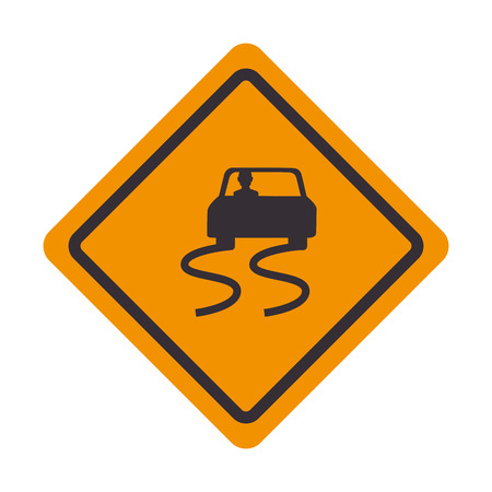 signal traffic slippery road Illustration