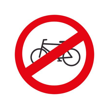 prohibido: carretera prohibido el tráfico de bicicletas Vectores