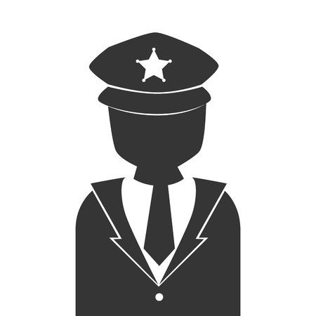 vigilant: silhouette man police vigilant isolated vector illustration eps 10 Illustration