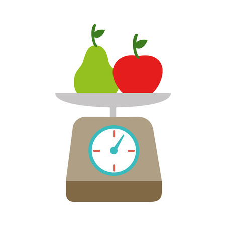 kitchen scale fruits Illustration