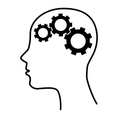 enigma: silhouette human brain gear idea Illustration