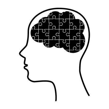 silhouette human brain puzzle idea