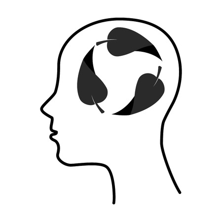 silhouette human leaf brain thinking idea Illustration