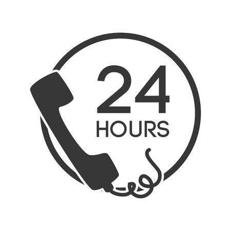 llamar por teléfono a las 24 horas Ilustración de vector