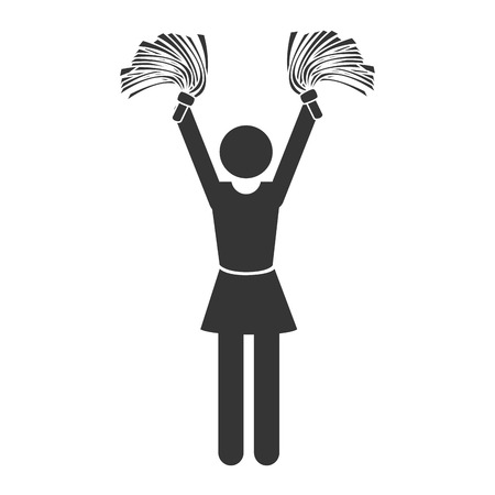 black cheerleader: silhouette cheerleader Illustration