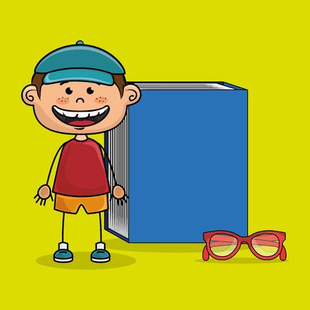 bibliophile: student boy book glasses study vector illustration eps10 Illustration