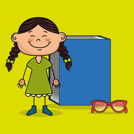 student girl book glasses study vector illustration eps10