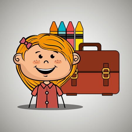 girl student colors school baggage vector illustration eps10 eps 10 Illustration