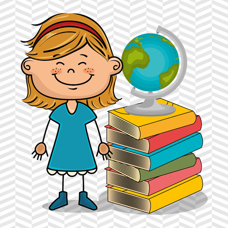 educated: girl student books global vector illustration eps10 eps 10