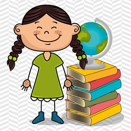 girl student books global vector illustration eps10 eps 10